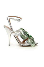 Laminated leather sandals with flower