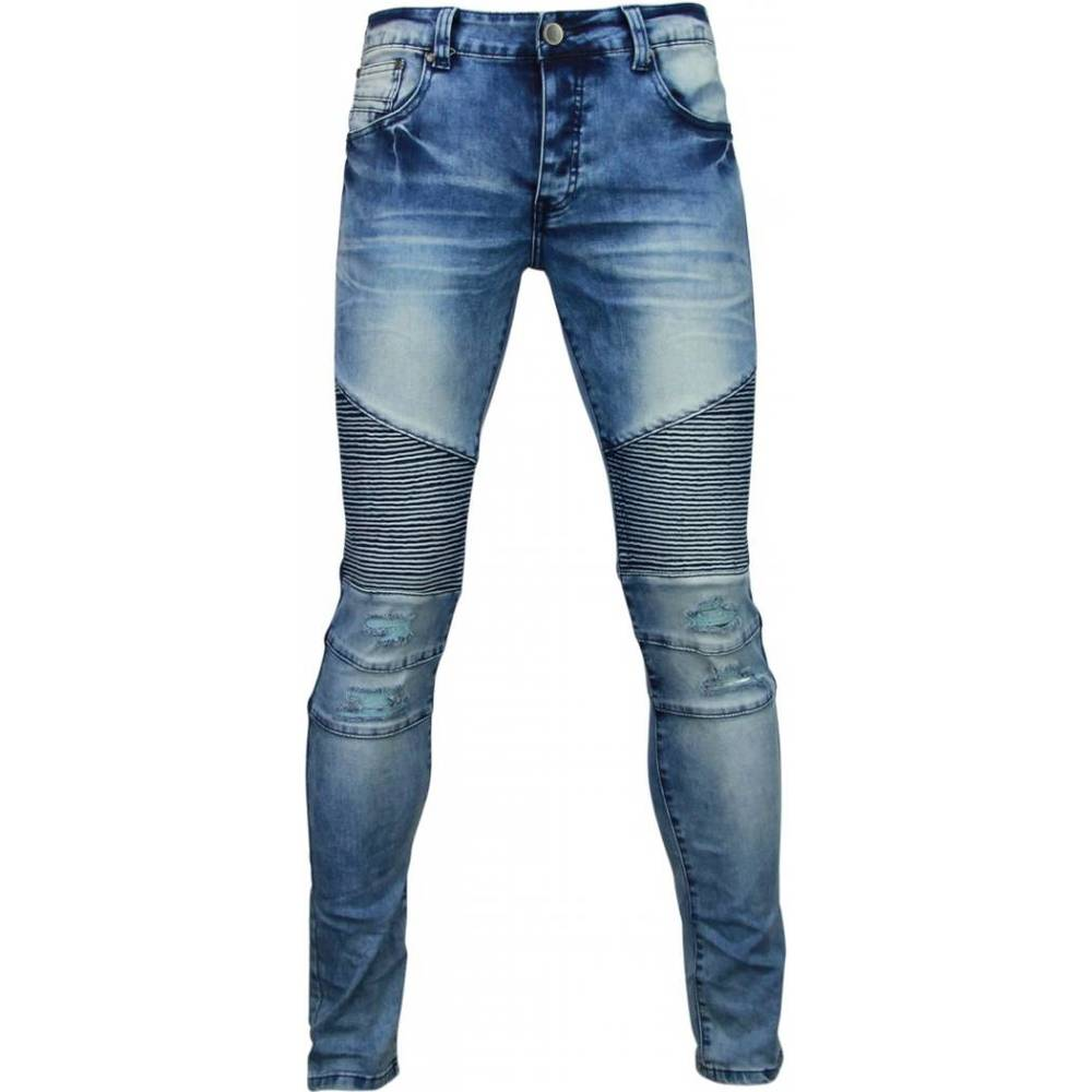 Eksklusive Jeans - Slim Fit Biker Jeans Damaged