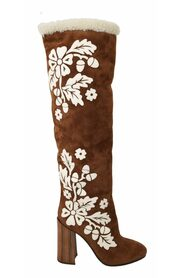 Floral Knee High Boots Shoes