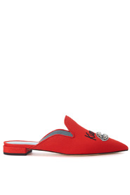 Mules with embroidery and crystals