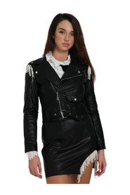FAUX LEATHER JACKET WITH APPLICATIONS