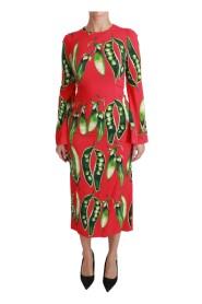 Snap Pea Print Longsleeve Midi Dress