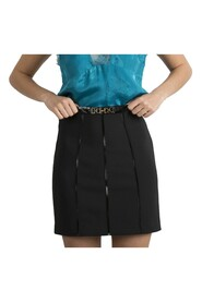 Mini skirt with zip on the back and eco-leather inserts
