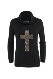 STR-866 Shirt - Lichte pull gouden strassjes kruis rol-kraag.