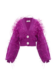 Cardigan with ostrich feathers
