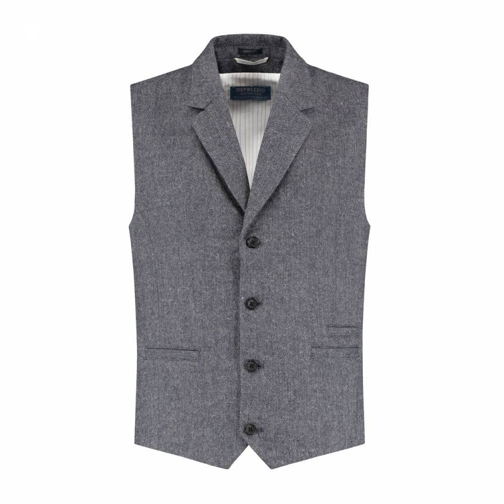 Gilet herringbone wool tweed naps navy