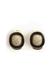 Art Deco round shaped clip on earrings