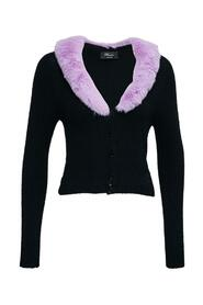 Cardigan with Lilac Synthetic Fur Neckline