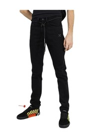 Denim straight pant with cord belt