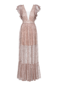 Długa błyszcząca sukienka tiulowa nude Sunset