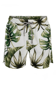 Hvit Saint Barth Jumbo Leaves 1356 Badeshorts