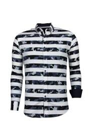 Italiaanse Overhemden - Slim Fit - Blouse Big Stripe Camouflage Pattern
