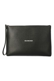 Clutch bag in hammered leather with logo