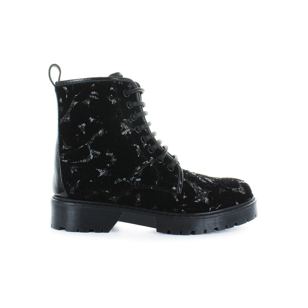 STOKTON BLACK VELVET BOOTS WITH SEQUINS