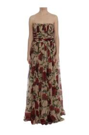 Roses Silk Long Shift Dress