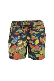 Swimsuit with tiger and water lily print