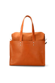 Handbag L Nat Dyed Smooth Leather With Canvas