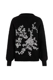 Knitted Pullover Flower Embroidered