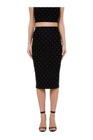 Strik nederdel i kalvlængde med knopper
