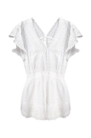 Openwork jumpsuit with short sleeves