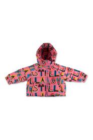 Printed nylon padded jacket with hood