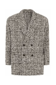 Houndstooth-check double-breasted coat