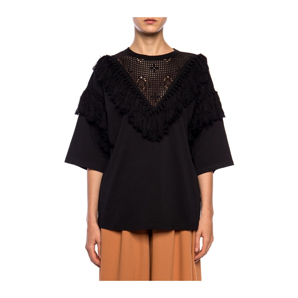 See by Chloé BLACK Fringed top See by Chloé