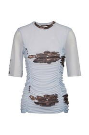 Printed Mesh Blouse Bluse Og Skjorter