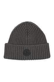 Rib-knit beanie with logo