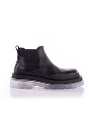 Leather Transparent Sole Chunky Ankle Boots