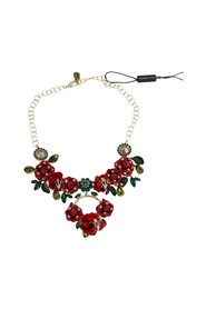 Brass Roses Floral Crystal Necklace