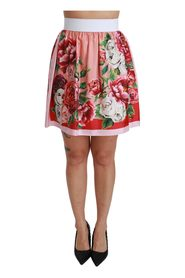 Silk Floral High Waist A-line Mini Skirt
